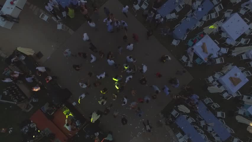 Tel Aviv - 22 April 2016: Evening party celebration in Tel Aviv, drone footage 1080p | Shutterstock HD Video #25011893
