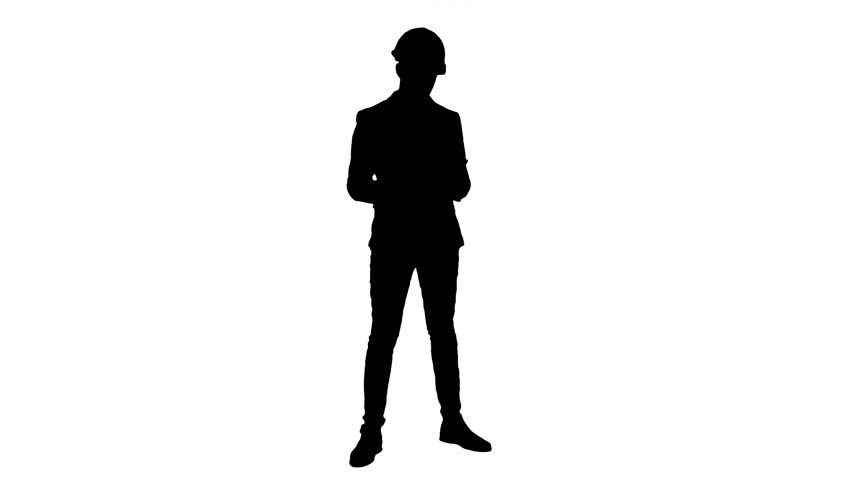 Silhouette Young manager in helmet holding tablet and showing thumb up | Shutterstock HD Video #25015067