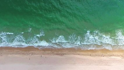 Tropical beach video loop showing seamless never ending footage with aerial bird eye view of green foaming ocean waves crushing against the coast line of Florida and overhead view of a seldom tourist