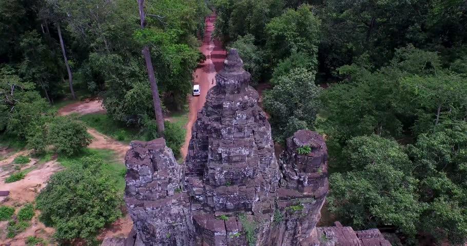 Aerial Angkor Wat Temple  South Gate