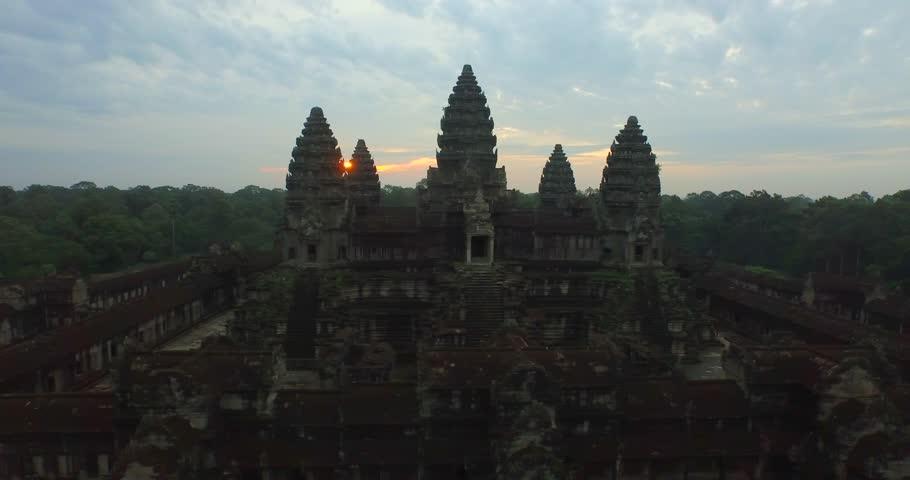 Aerial Angkor Wat Temple Sunrise