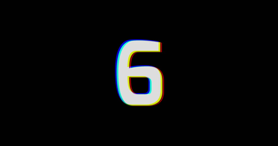 Glitch countdown from 10 to 1 on black background. 4K stock video footage.