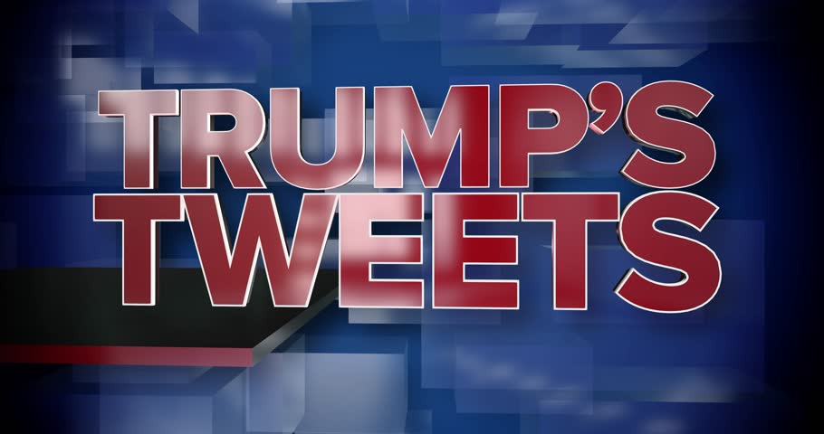 A red and blue dynamic 3D Trump's Tweets news title page animation. May be used as a title page for a President Trump news story. | Shutterstock HD Video #25028969