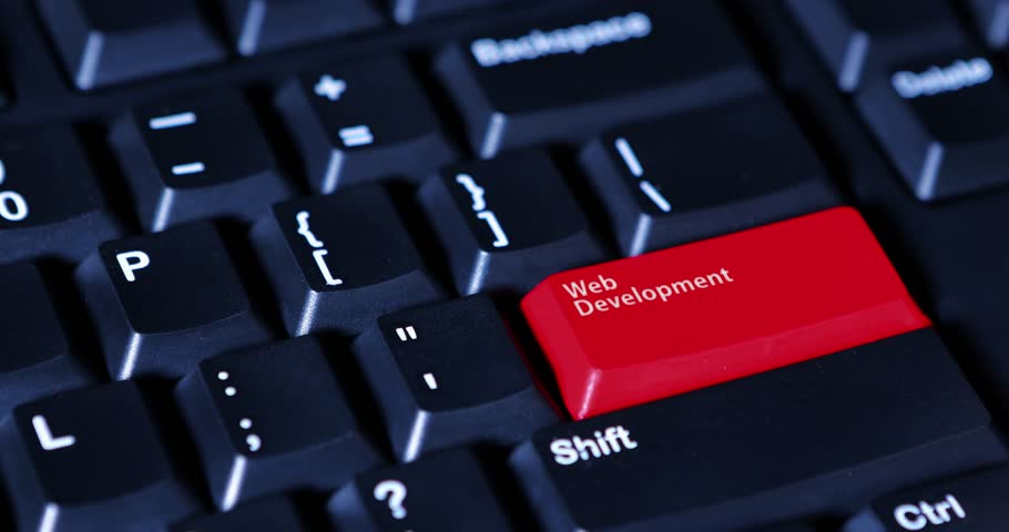 4k footage of a human finger pushing a red button with text of Web Development on the computer keyboard   Shutterstock HD Video #25035596