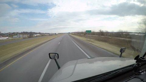 Semi-Truck Interior POV Dashcam View Cattle Truck Pass Iowa, USA February 23rd, 2017