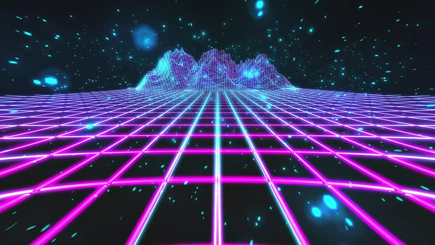 80 S Retro Future Style Gaming Cycled Background With Particles And Mountains