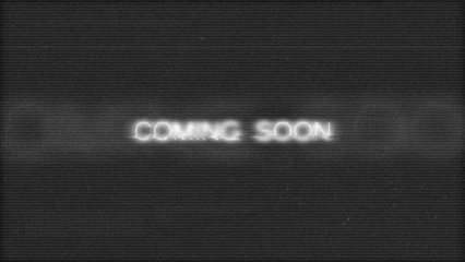 Coming soon glitch effect intro. Tv screen, noise background, noise static television. After the white tv noise reveal title