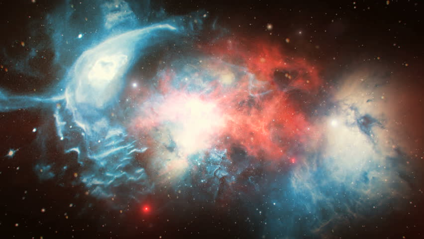 3D animation of space flight through red and blue nebula; suitable for scientific presentations and sci-fi projects