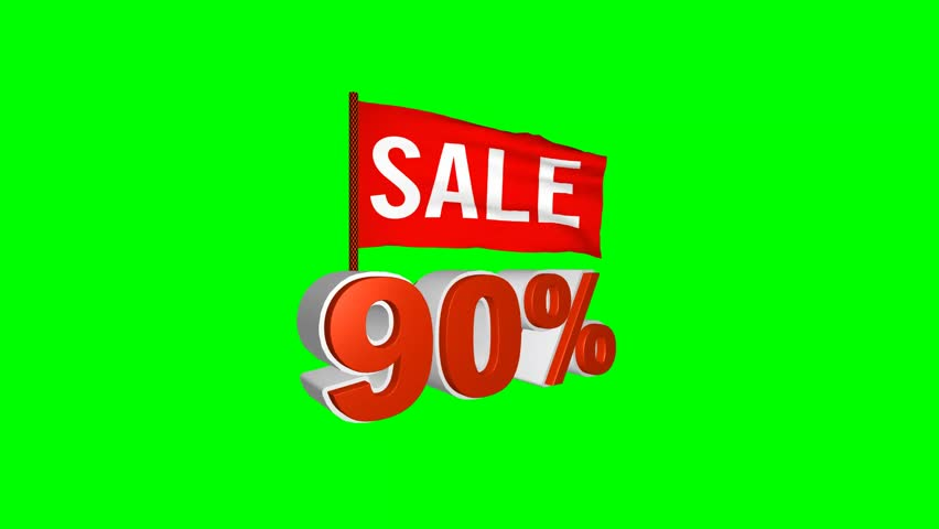 Red flag flutters bearing the Special offer, sale, discount, percentages animation  background green screen. 90% | Shutterstock HD Video #25099973