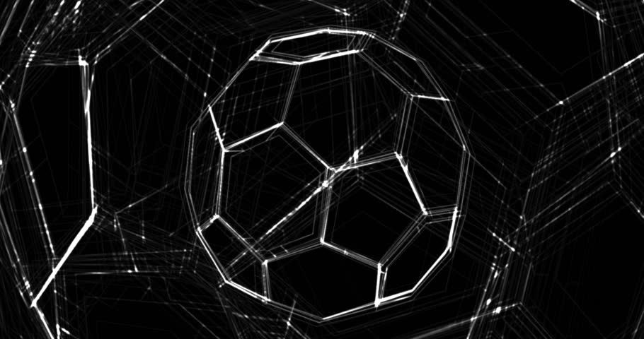 Abstract animation of soccer ball. Looped animation with alpha channel.  Animated background. Soccer Ball. Football background