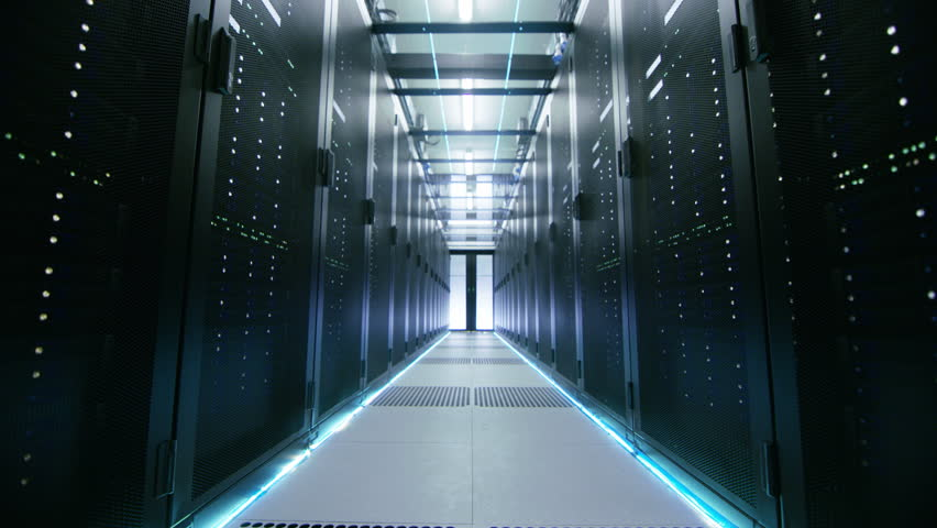 Camera Walk-Through Shot of a Working Data Center With Rows of Rack Servers. Shot on RED EPIC-W 8K Helium Cinema Camera. #25116935