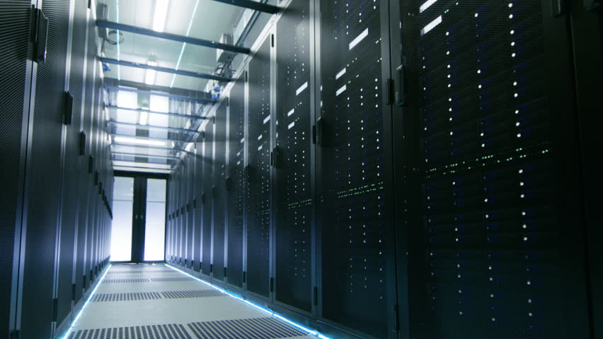 Camera Walk-Through Shot of a Working Data Center With Rows of Rack Servers. Shot on RED EPIC-W 8K Helium Cinema Camera. | Shutterstock HD Video #25116938