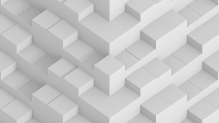 White 3D cubes. looping animation with camera panning up