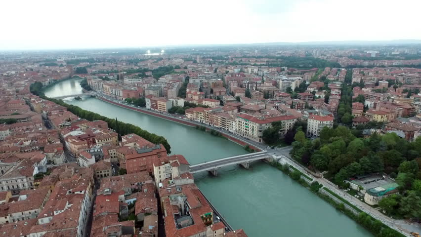 Panoramic aerial drone view of medieval city of love Verona, Pietra bridge  and Adige river | Shutterstock HD Video #25124843