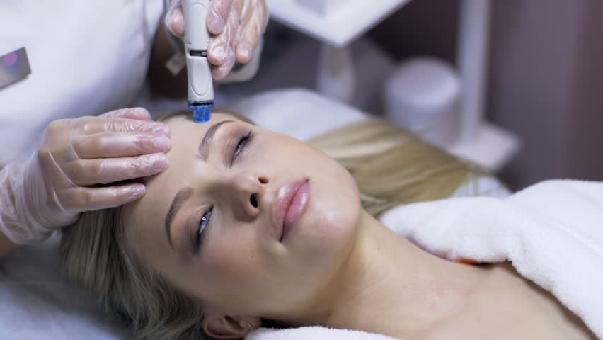 Woman Having A Water Clean Skin Treatment In A Skincare Clinic