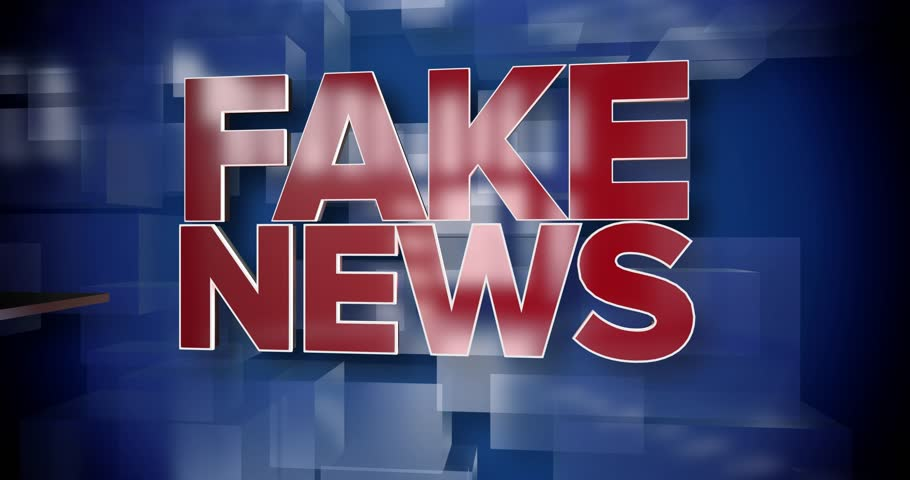 A red and blue dynamic 3D Fake News title page background animation.
