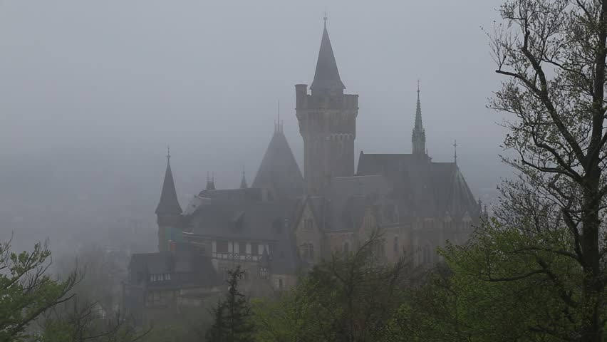 The Wernigerode castle in the rain and fog   Shutterstock HD Video #25143296