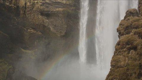 Closeup, slow motion shot of Skogafoss Falls in Iceland.
