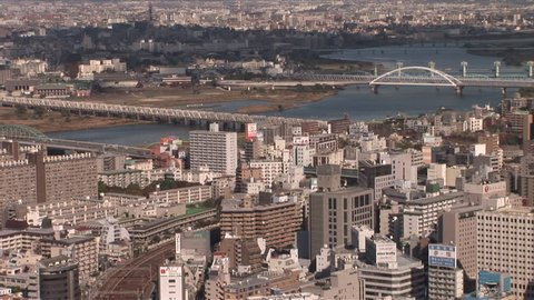 Osaka, Japan - CIRCA November, 2006: A wide shot of the skyline during the day