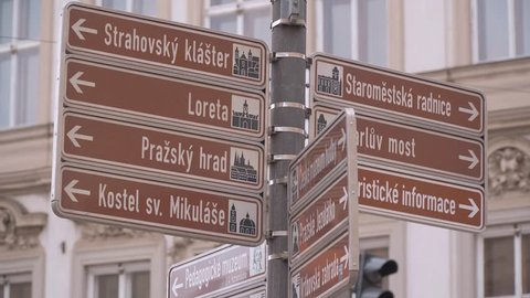 Direction signs in the streets of Prague - PRAGUE / CZECH REPUBLIC - MARCH 20, 2017