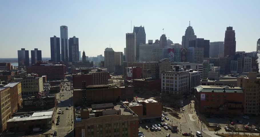 Detroit Aerial Shot 4K