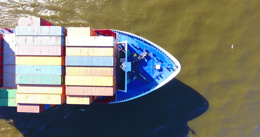 Aerial, vertical view of container ship in motion. Curonian Lagoon, Klaipeda port - 3 #25209131