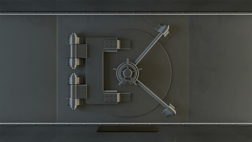 Bank vault door opening revealing a green screen includes luma matte.