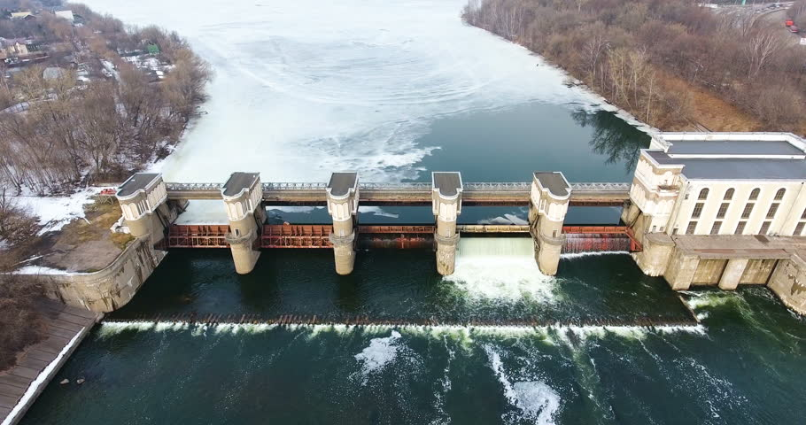 Water release from dam. Aerial view from copter, drone. #25223099