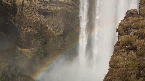 Closeup shot of Skogafoss Falls in Iceland.