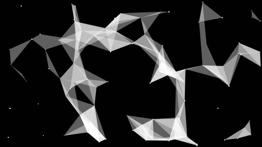 Moving abstract plexus structure on a black background. Network connection between dots and lines. | Shutterstock HD Video #25237058