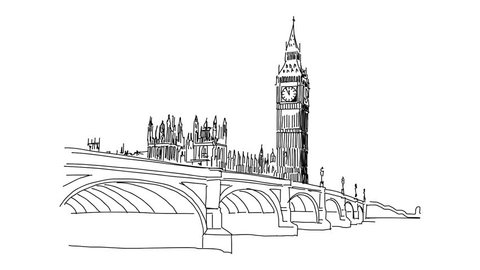 Black Hand Painted British Big Ben Lines, London, Big Ben, Architecture PNG  Transparent Clipart Image and PSD File for Free Download
