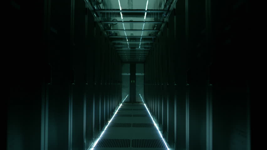 Rows of Rack Servers Turning on in Big Data Center. Shot on RED EPIC-W 8K Helium Cinema Camera.
