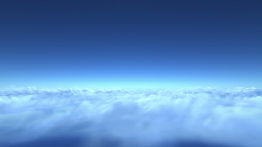 Flight over clouds, loop-able 3d animation (version without sun)