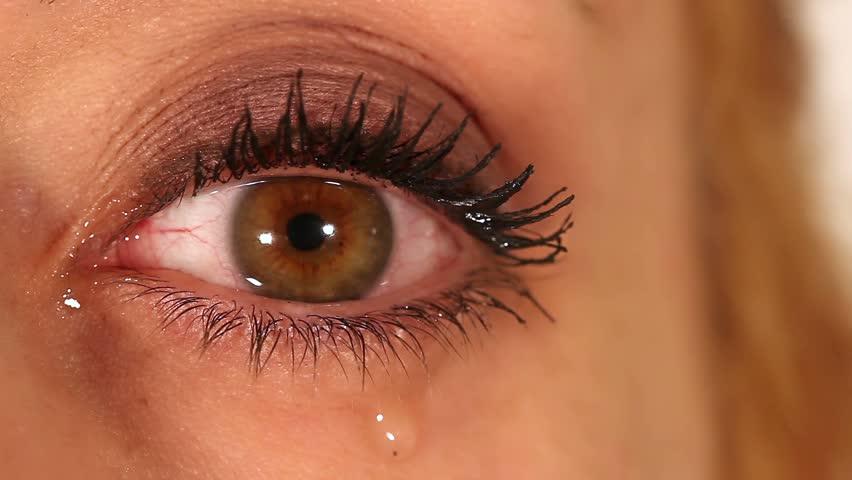 Eye expression closeup - tears, cry