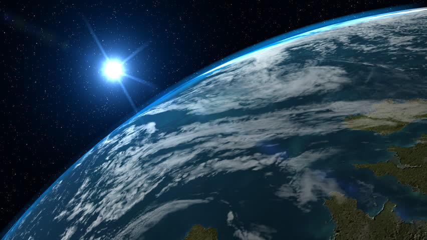 A big, filmic blue planet Earth with sun and stars in background. This clip uses very high resolution texture mapping, with separate cloud and atmosphere layers. NTSC version also available. #253132