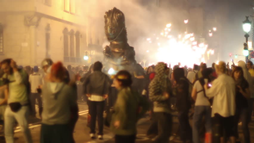 BARCELONA - SEPTEMBER 10:  The correfoc, of fire run during the la merce festival in Barcelona. 10 September 2011, Barcelona, Spain | Shutterstock HD Video #2532143
