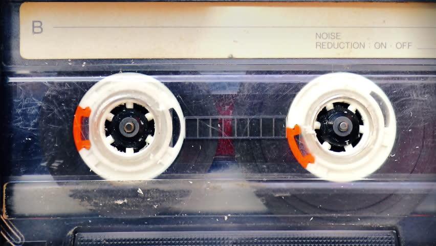 Vintage cassette tape player closeup loop