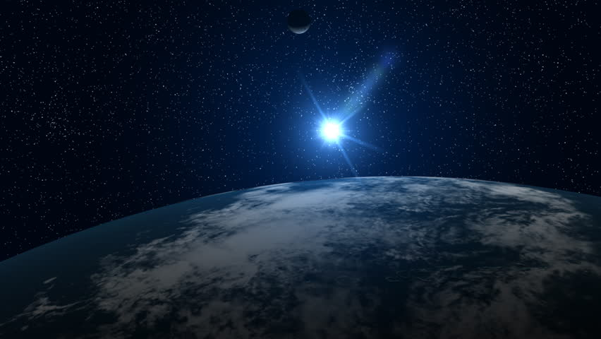 A big, filmic blue Earth with sun and stars in background. NTSC version also available. | Shutterstock HD Video #253564