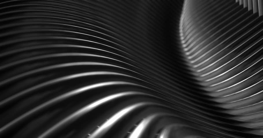 Abstract 4K background seamless loop of steel curves and texture with reflection of animated light and environment. 3D model of metal,  metallic technologies and industrial metal, reflecting light.