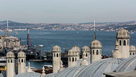 tracking shot time lapse photography, traffic on Bosphorus at istanbul Turkey, shot in RAW