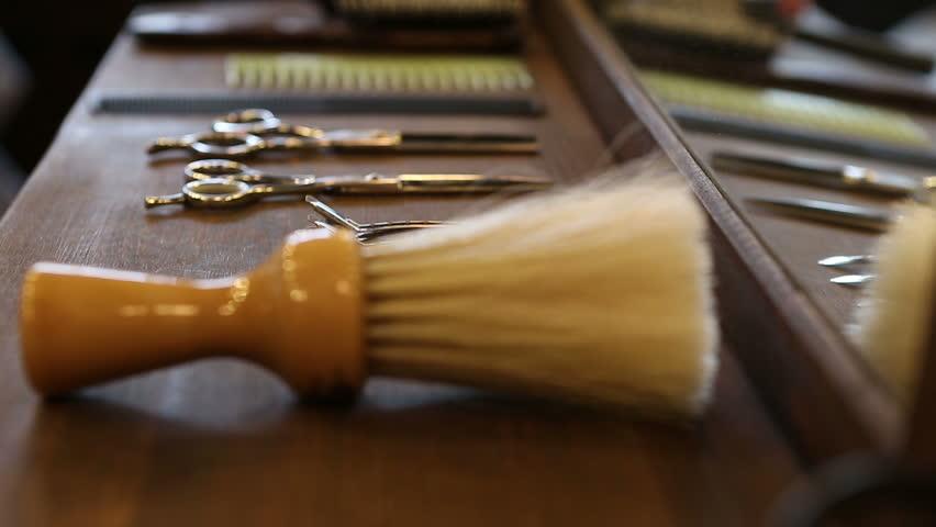 Barber Equipment at a barber shop,close up.