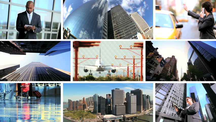 Montage collection modern business people using wireless communication and travel | Shutterstock HD Video #2539535
