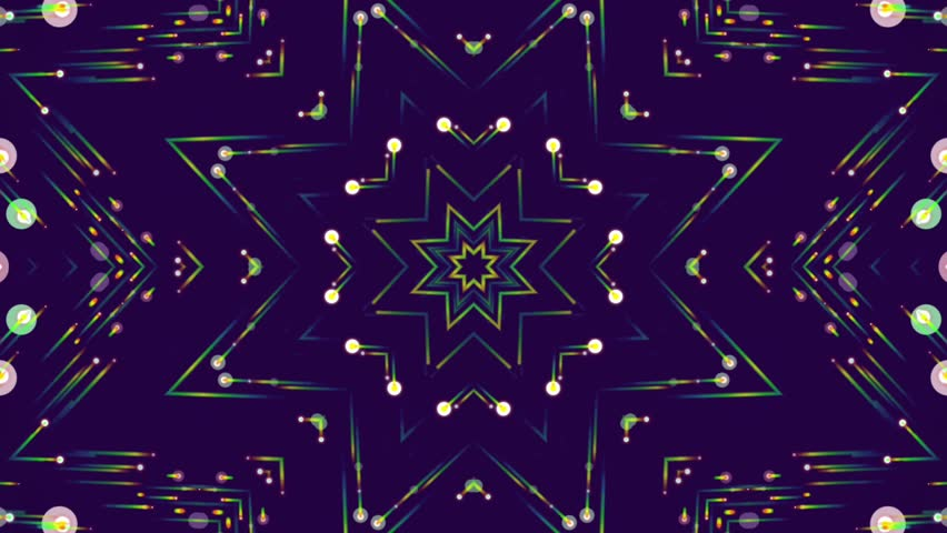 Fractal blue kaleidoscopic background. Abstract motion background with colorful beams, stars, circles. Seamless loop. | Shutterstock HD Video #25400879