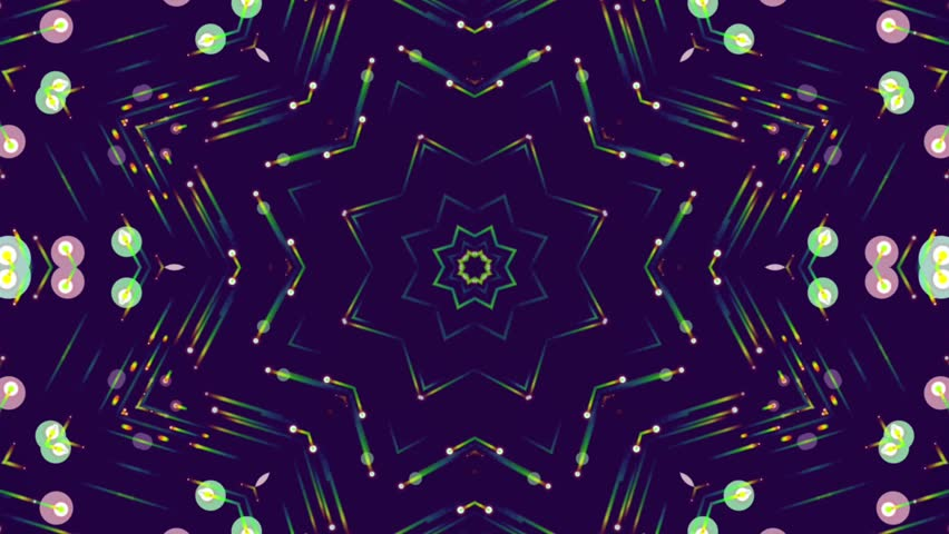 Fractal blue kaleidoscopic background. Abstract motion background with colorful beams, stars, circles. Seamless loop. | Shutterstock HD Video #25400900