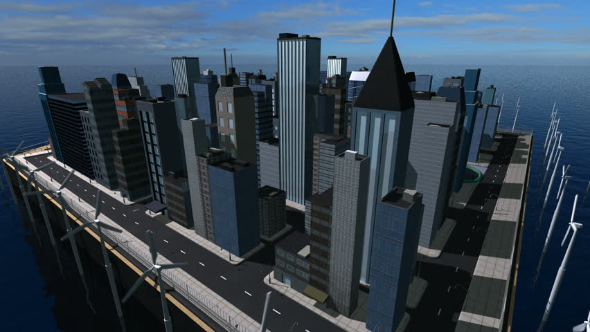 3D digital view of a city being resourced by sustainable renewable energy