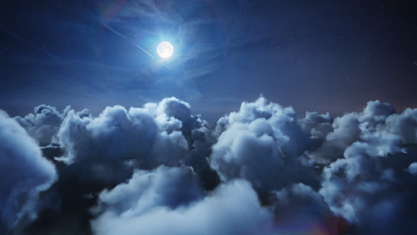 Flying over the deep night timelapse clouds with moon light. Seamlessly looped animation. Flight through moving cloudscape with beautiful moon. Perfect for cinema, background, digital composition. #25406705