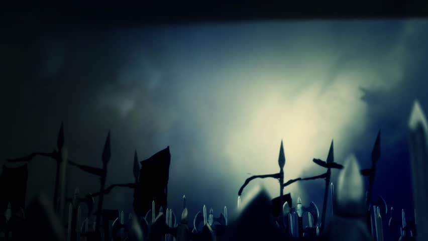 Great Medieval Army of Warriors Marching to War Under a Lightning Storm