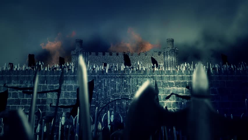 Great Medieval Army of Warriors Invading a Burning Castle Under a Storm
