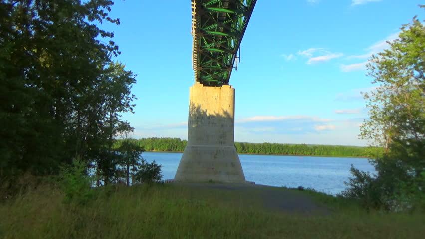 Bridge metal rusty iron structure and blue sky | Shutterstock HD Video #25438346