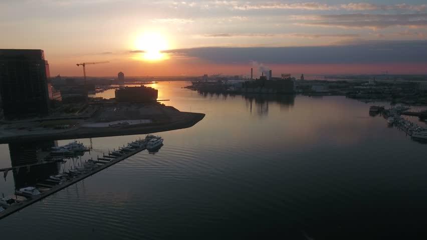 Aerial Maryland Baltimore September 2016 4K